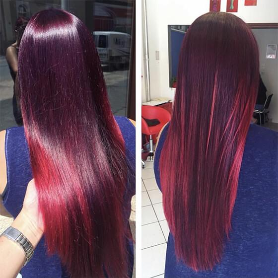 hosszú vörös frizura